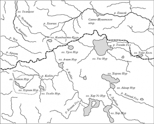 Карта-схема района исследований. Западная Монголия