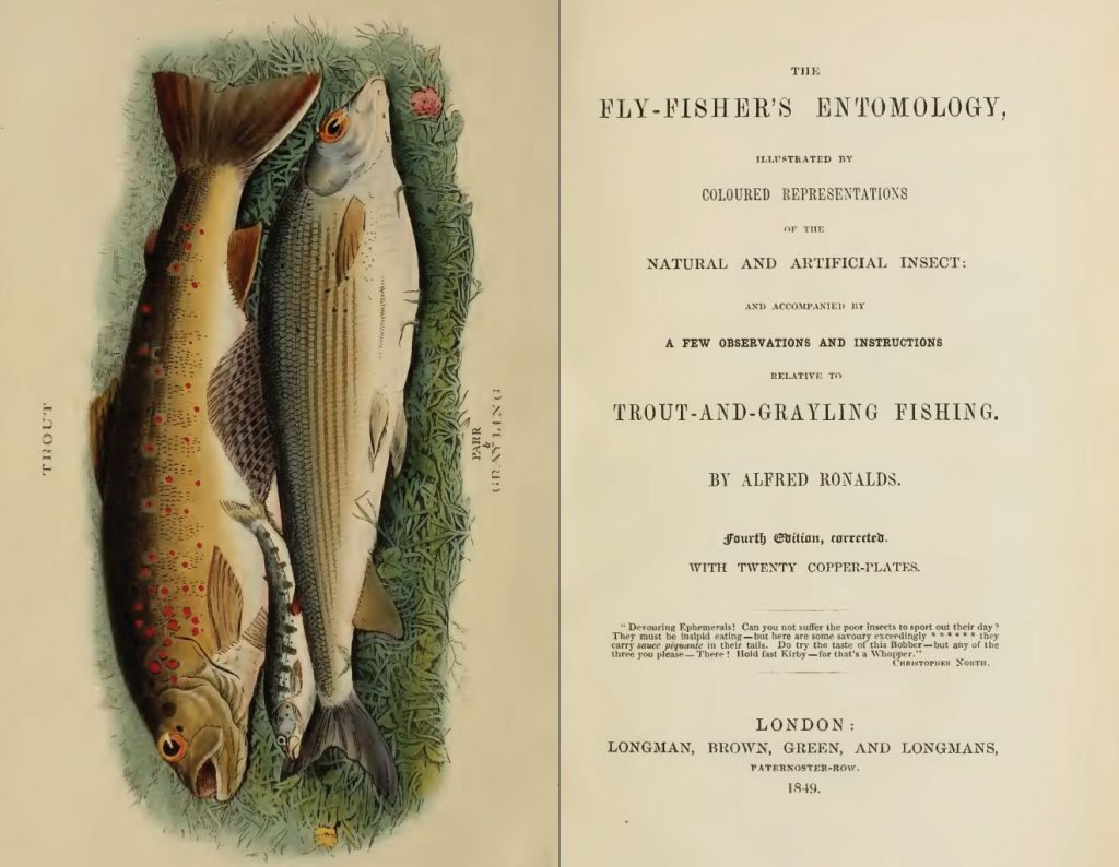 Обложка и титульный лист из «Энтомологии ловли нахлыстом», 1849г., Альфреда Рональдса, демонстрирующая кумжу и хариуса